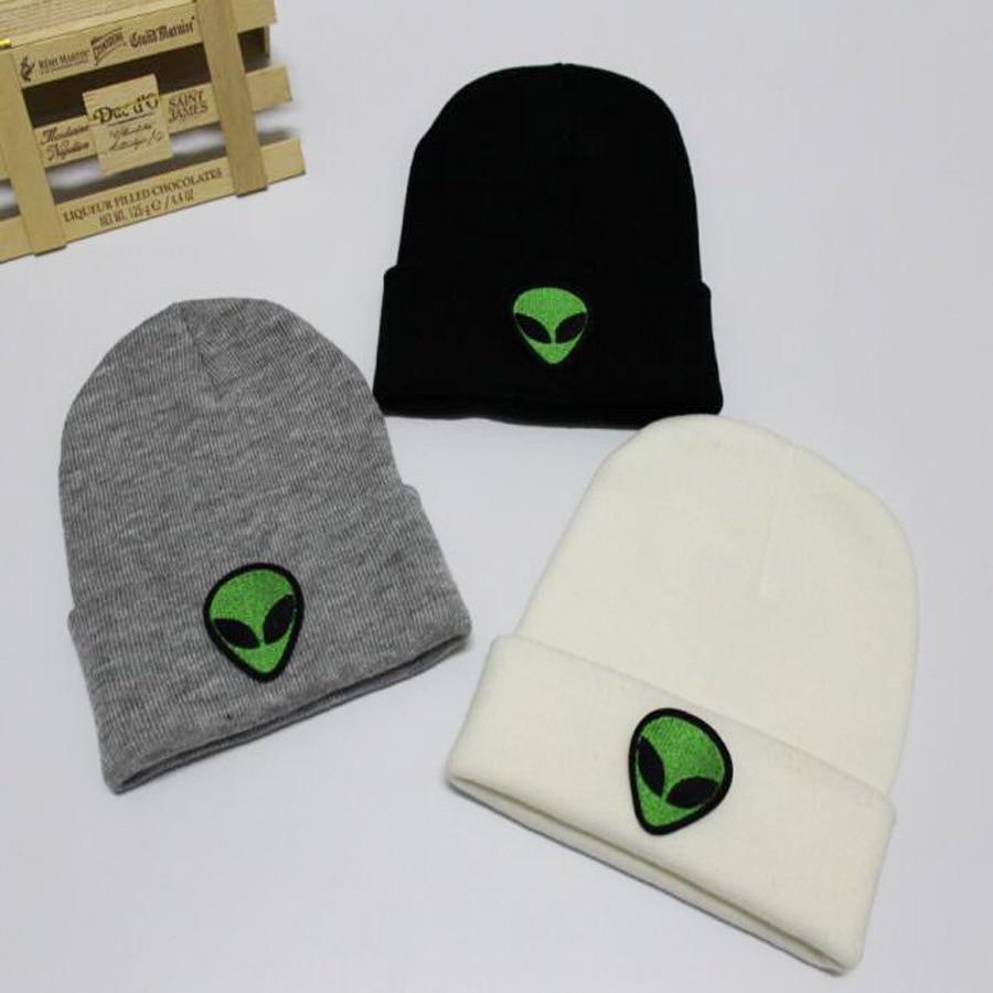 Cute Knitted Green Alien Hat Bonnet Alien Beanie Beanie For Women Embroidery Hat Embroidery Embroidered  Beanie Embroidery Men
