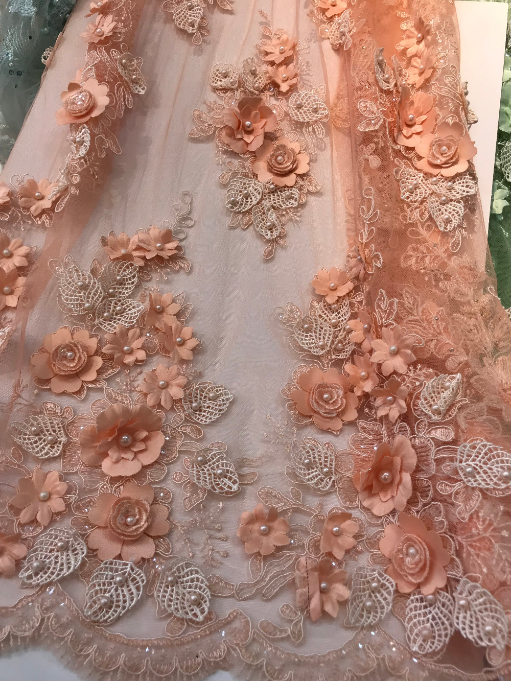 French Net Lace Fabric with beads 3d flower Latest african guipure lace fabric with embroidery mesh nigerian tulle lace fabric