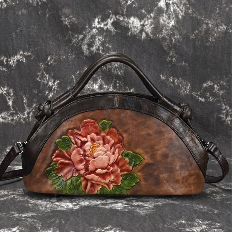 Genuine Leather Shoulder Crossbody for Female Tote Bags Lotus Pattern Floral Embossed Women Retro Handbag Messenger