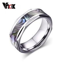 Vnox cáscara fresca de los hombres del anillo de bodas de carburo tungsten anillo joyería al por mayor de alta calidad los hombres con textura