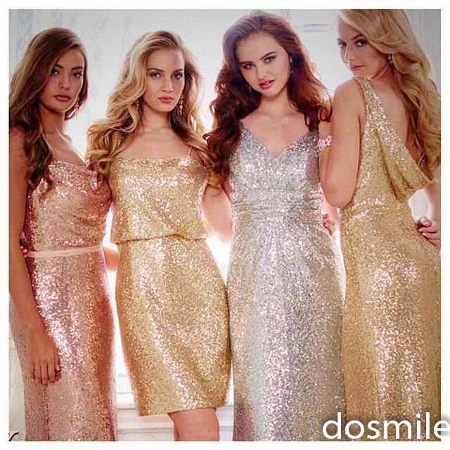 Rose Gold Prom Silvers: Sparkly Gold/silver/rose Gold Long/short V Neck Bridesmaid