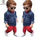 Fashion Brand Baby Boy Clothes Bow Tie Denim Coat And Red Jeans Two Piece Children Clothing Sets Autumn Toddler Kids Outwear