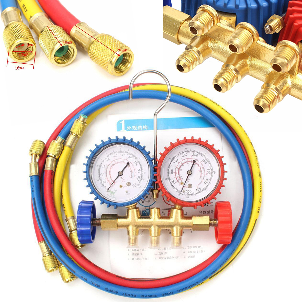 New Manifold Gauge Set Charging For R134A R12 R22 R404z Air Condition Refrigeration high quality automotive refrigeration air conditioning manifold gauge for r134a