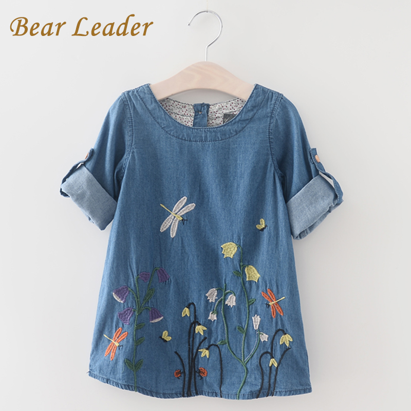 Bear Leader Girls Denim Dress 2018 Children Clothing Spring Casual Style Girls Clothes Butterfly Embroidery Dress Kids Clothes