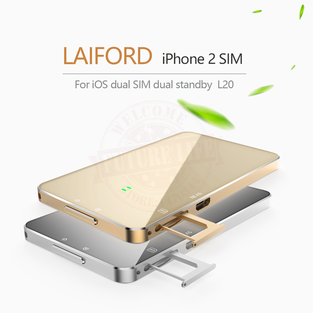Ultra Thin Dual 2 <font><b>Sim</b></font> Dual Standby <font><b>Bluetooth</b></font> Extend <font><b>SIM</b></font> <font><b>Adapter</b></font> L20 LAIFORD No Jailbreak For iPhone/ iPod 6th iOS 10.3.3