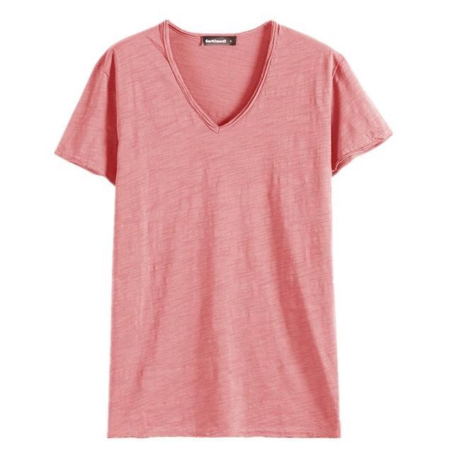 GustOmerD Brand T shirt Men's V-neck Slim Fit Pure Cotton T-shirt Fashion Short Sleeve T shirt Men's Tops Casual Tshirt M-XXL