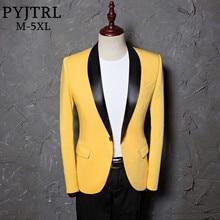 PYJTRL Chaqueta ajustada de talla grande para hombre, chal clásico con solapa, Blazer amarillo informal, diseños de ropa de escenario para cantantes
