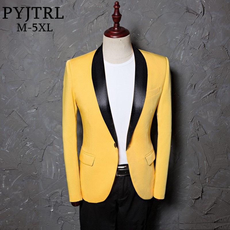 PYJTRL Men Plus Size Classic Shawl Lapel Slim Fit Suit Jacket Casual Yellow Blazer Designs Costume Stage Clothes For Singers
