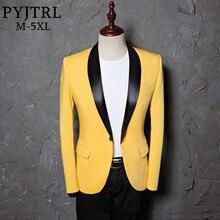 بدلة كلاسيكية بمقاس كبير للرجال من PYJTRL مع طية صدر على شكل شال وسترة بمقاسات مختلفة ملابس للخروجات اليومية باللون الأصفر للمغنين