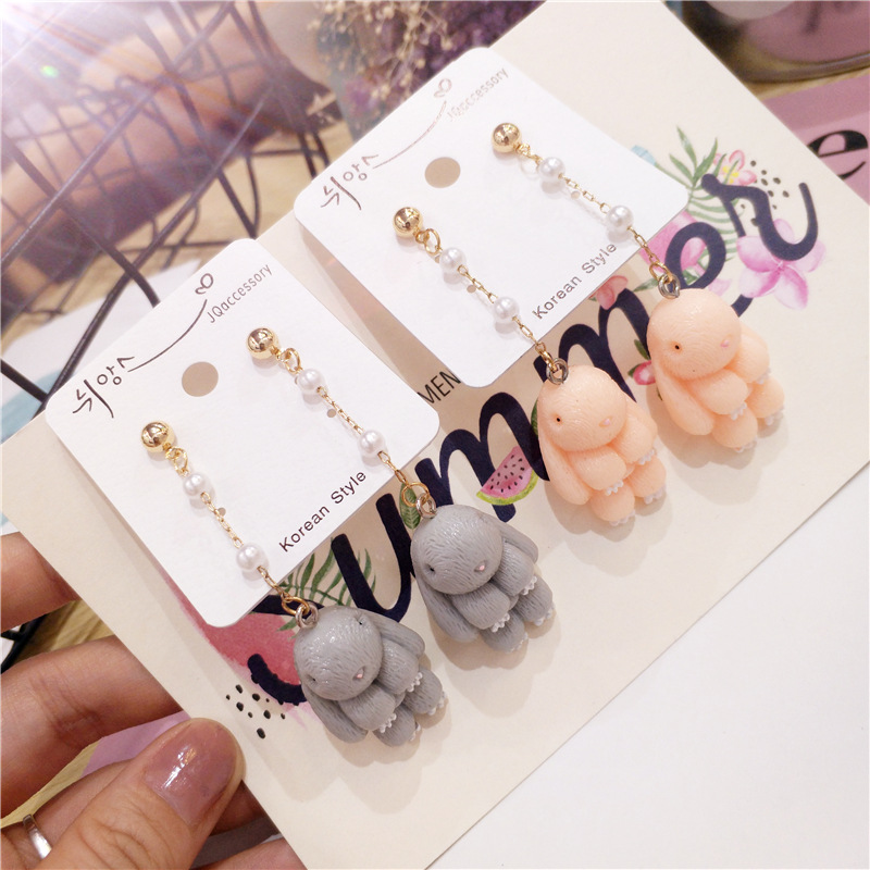 Korean Handmade Cute Cartoon Rabbit Woman Hanging Dangle Drop Earrings Fashion Jewelry Accessories-JQD5