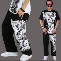 מכנסיים רופפים חמה Mens מכנסי טרנינג מכנסיים ריקוד היפ הופ Streetwear סקייט צבע שחור/אפור