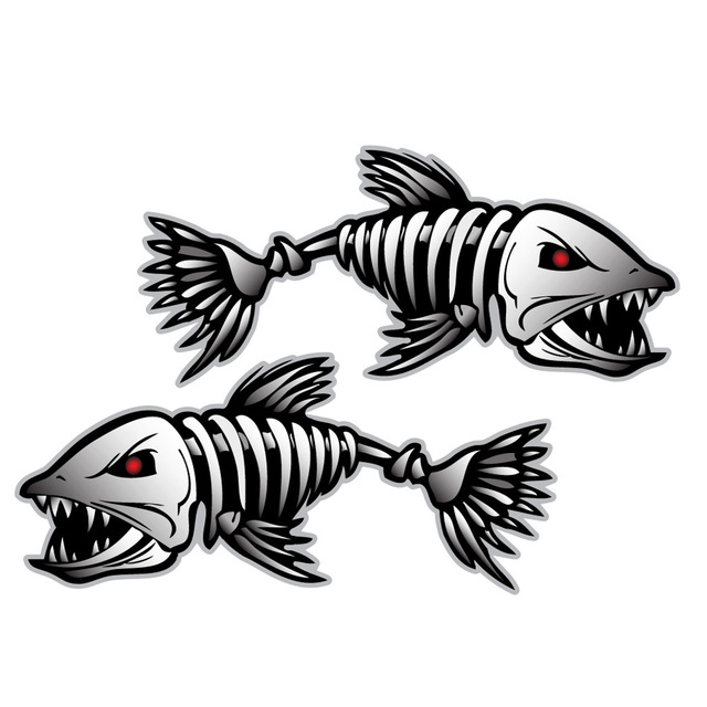 Car Styling Skeleton 2pcs Fish Boat Decals Stickers Fishing Graphics Water Sports Rowing