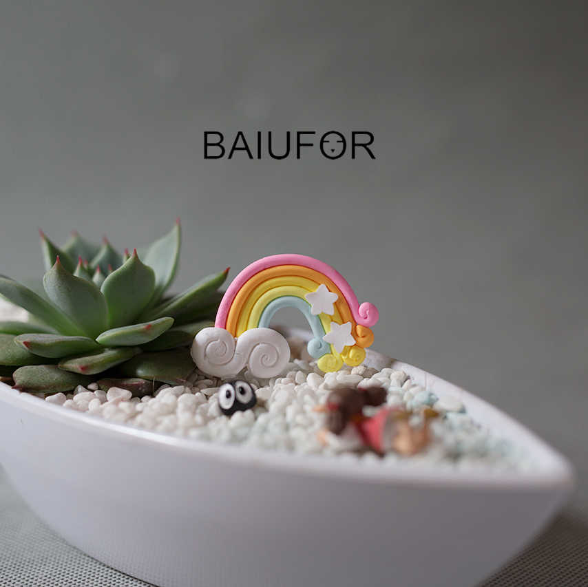 Figurinhas & Miniaturas BAIUFOR Colorful Rainbow Barro Artesanal Artesanato DIY Mini Fada Suculentas Potes Decoração de Jardim Em Miniatura