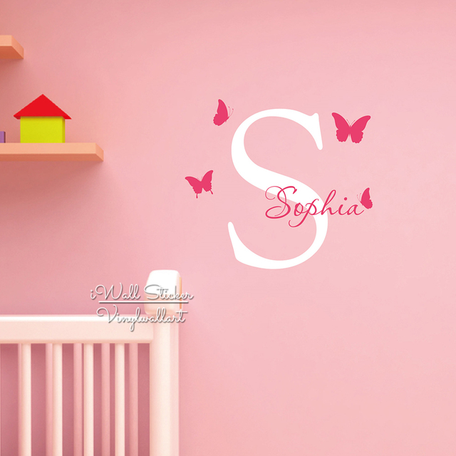 Name wall sticker initial letter butterflies name wall decal custom girls name stickers cut vinyl children