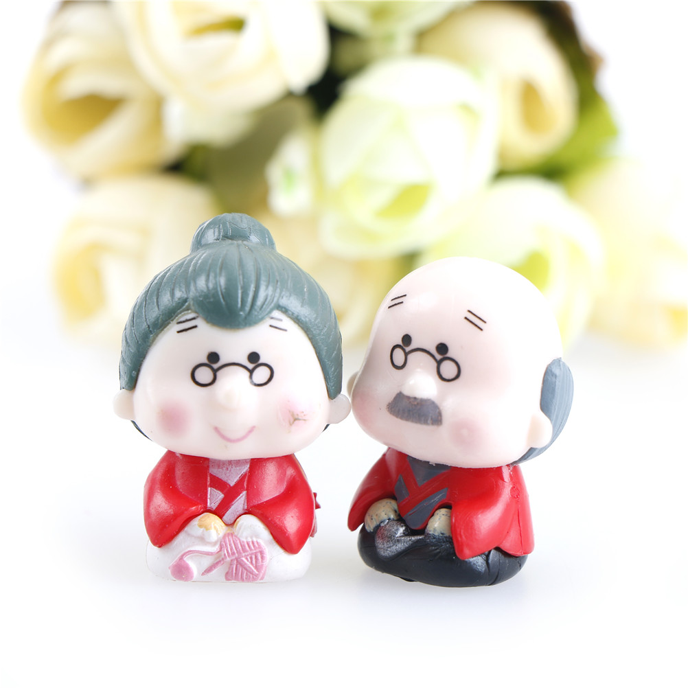 1pair 1.5*3CM Micro Landscape Grandfather Grandmother Old Couple DIY Crafts Home Garden Decoration Ornaments