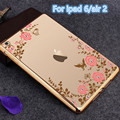 For Funda iPad Air 2 Case Slim Floral Soft TPU Plating Frame Secret Garden with Diamond Case for iPad 6 Air2 9.7 inch Back Cover