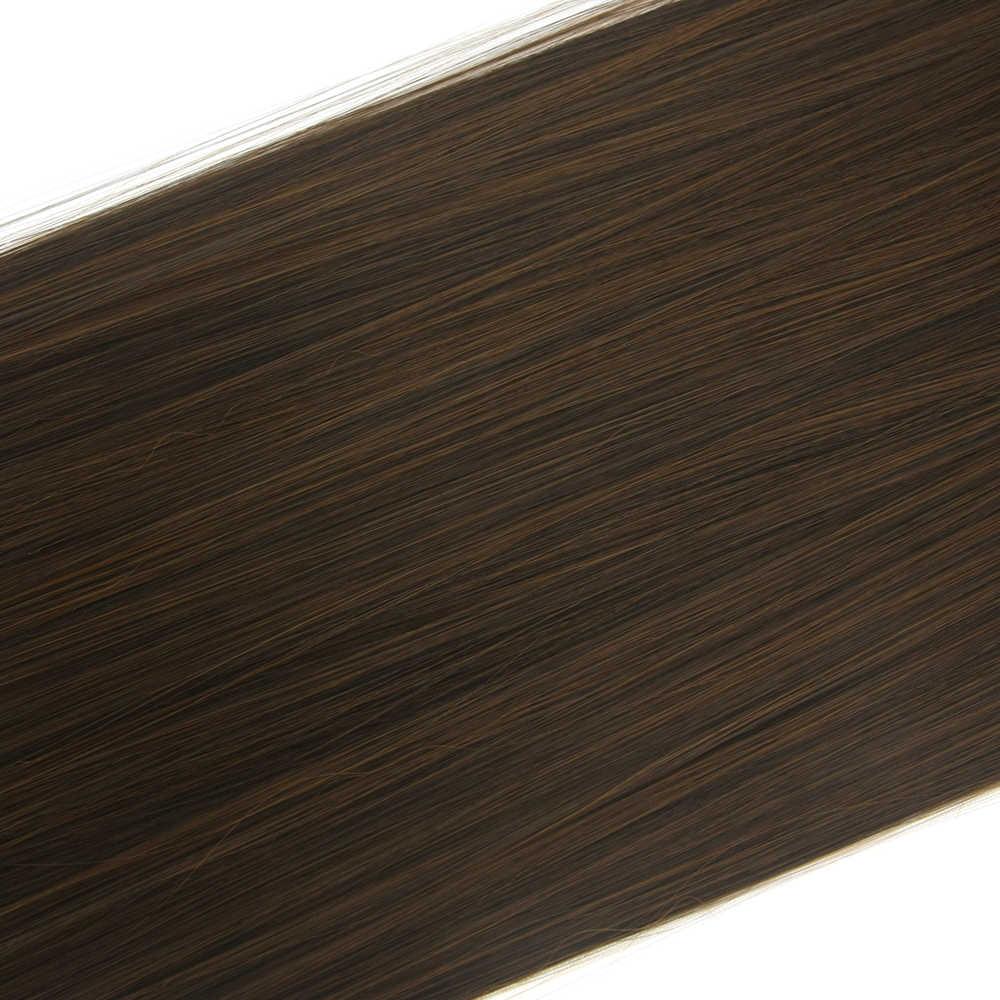 Soowee 24 'طويل مستقيم tempreture عالية الألياف الاصطناعية الشعر كليب في الشعر ملحقات هيربيسي أشقر رمادي ميجا كامل الرأس