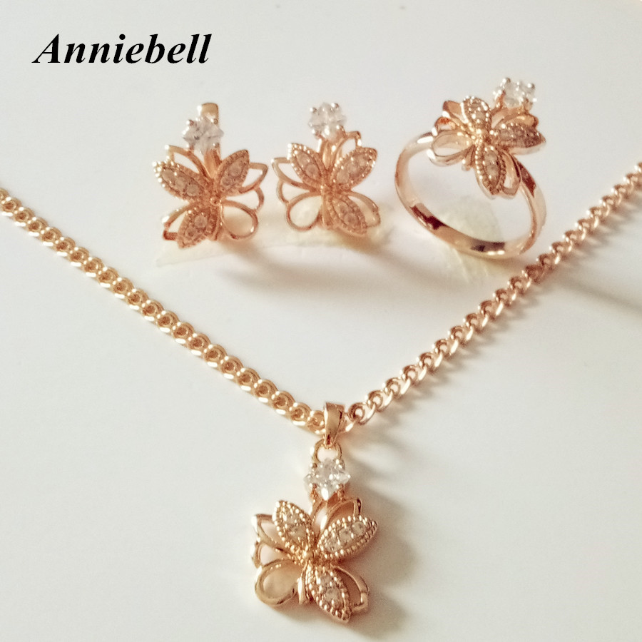 Anniebell New Rose Gold Color Jewelry Set Fashion Wedding ...