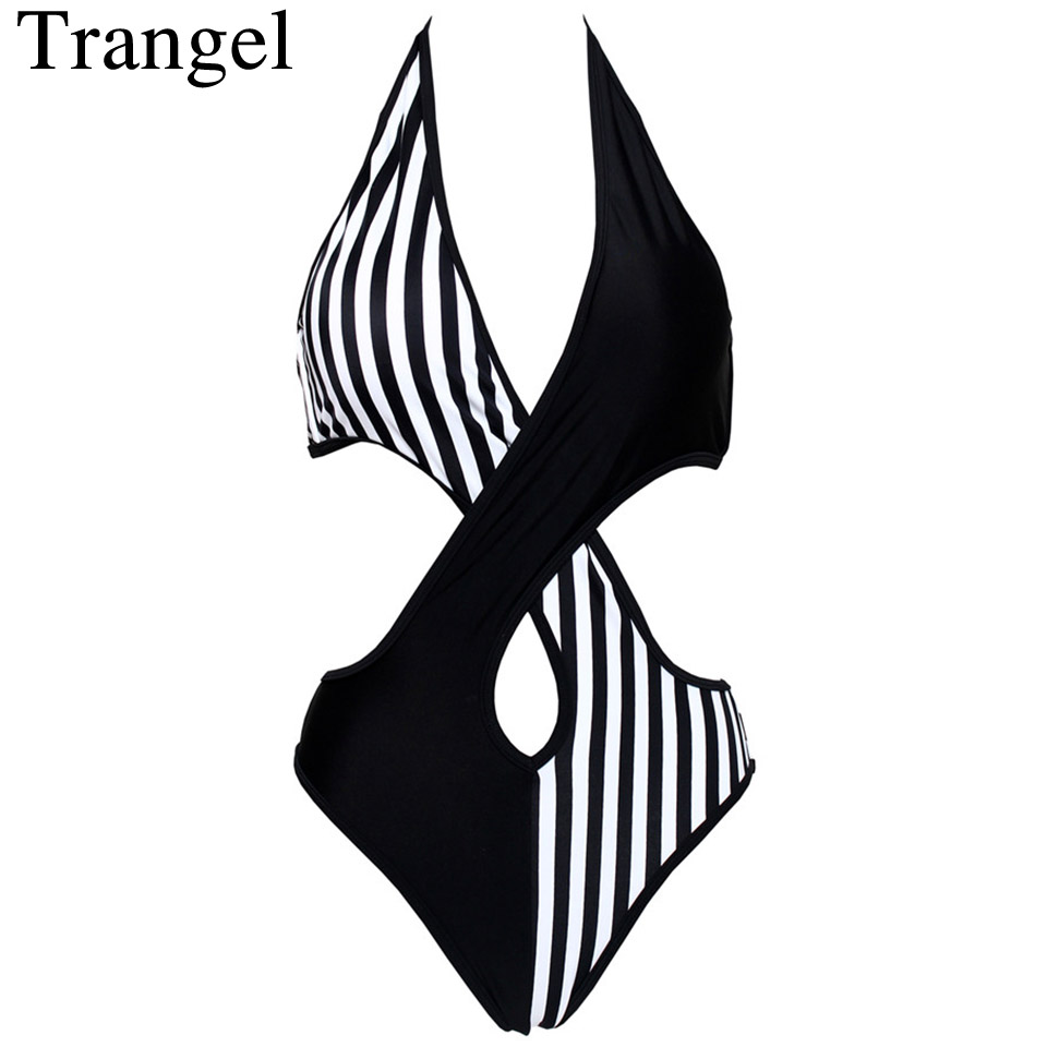 Trangel bikini Sexy One Piece Swimsuit Plus Size Swimwear Women Bandage Monokini Swimsuit Bathing Suit Swim Wear 2018 Small S sexy one piece swimsuit plus size swimwear women bathing suit beach wear backless swimsuit monokini