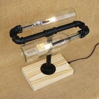 Modern Cong loại Chai thủy tinh chụp đèn bàn ánh sáng bao gồm đôi G4 light bulbs đèn bàn gỗ cơ sở 220 V