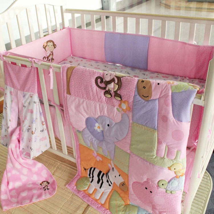 Zebra Giraffe Monkey Hippopotamus Girl Baby Bedding Sets 9