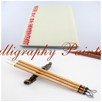 100pc Beginner Rice Xuan Paper+3Pc Chinese Painting Calligraphy Brush