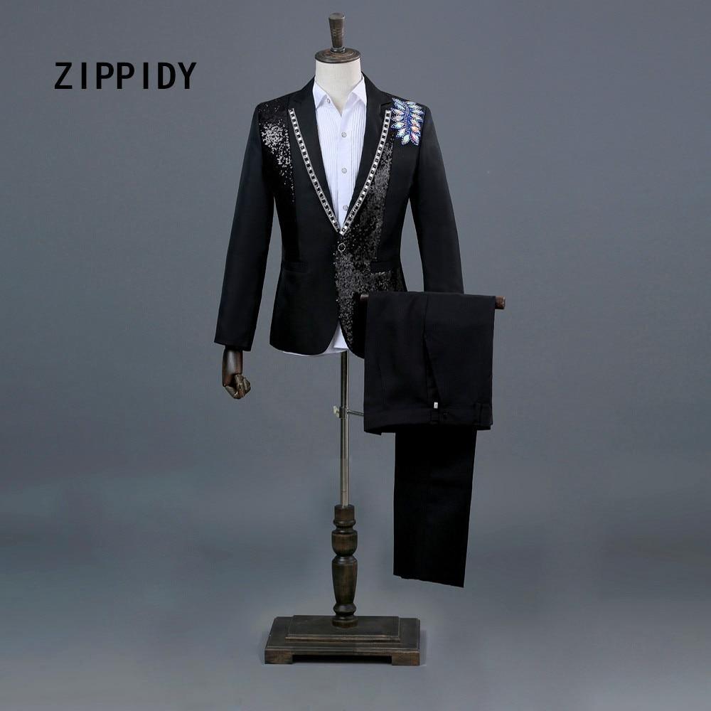 Multicolor Rhinestones Sequins Men Black Or White Suit (Jacket+Pant) Nightclub Host Male Singer Stage Prom Show Blazer Costume