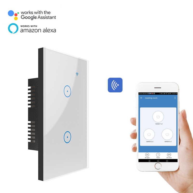 se necesita alimentaci/ón neutra BSEED Interruptores de luz de pared Smart WiFi Touch Sensor Panel de vidrio compatible Alexa//Tuya//IFTT 1 Gang 1 v/ía Negro