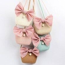 Модный летний комплект для девочек, сумка на плечо с красивым бантом броши соломенная мессенджер сумка Детские ключи, монеты кошелек милое мини-платье принцессы Сумки из натуральной кожи