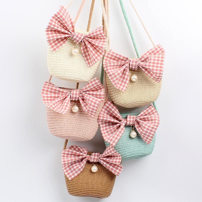Fashion Summer Children Girls Shoulder Bag Beautiful Bowknot Straw Messenger Bag Kids Keys Coin Purse Cute Princess Mini Handbag
