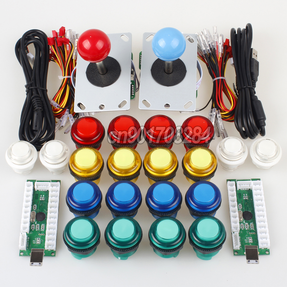2 Player Arcade Raspberry Pi 1 2 3 Project Arcade Push Buttons 5V + 5 Pin Arcade Stick + USB Encoder Board to PC Mame Games new usb mame cabinet arcade control panel kit 9 x arcade push buttons