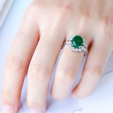 Huitan Vintage Ring Geometric Cocktail Party With Green Stone Prong Setting Retro Engagement Wedding Wholesale