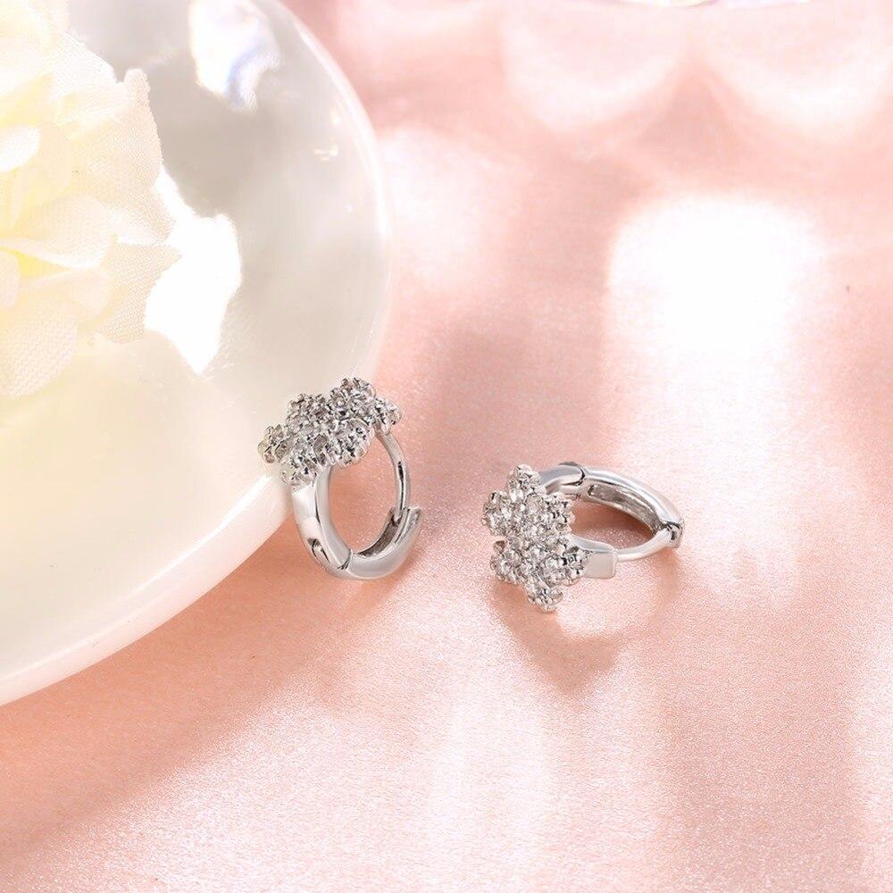 High Quality Romantic Snowflakes Zircon Hoop Earrings Sweet Flower ...