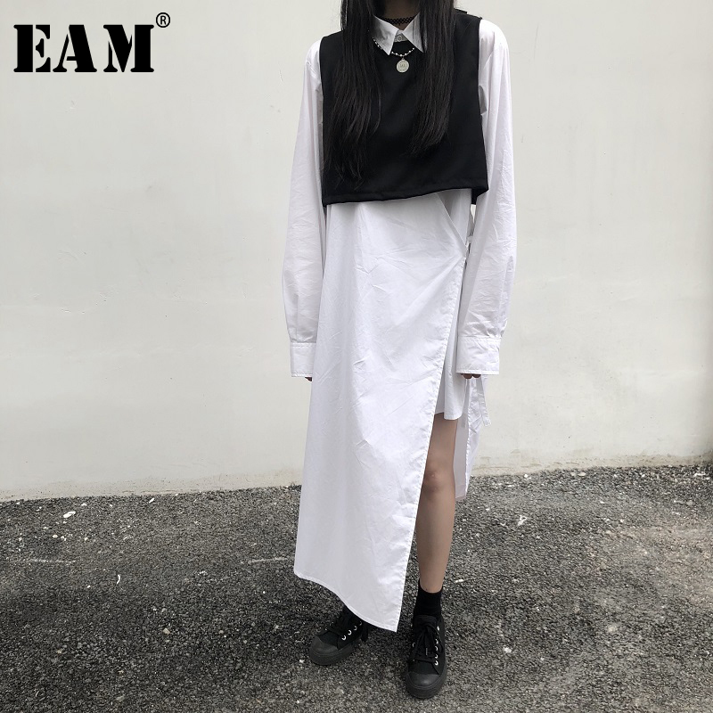 EAM 2019 New Spring Summer Lapel Neck Long Sleeve Split Joint Shirt Skirt Brief Two