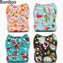 Bomitoo 2018 New 4Pcs Set Baby Cloth Diapers Washable Adjustable Babies Pants Reusable Diaper Pocket