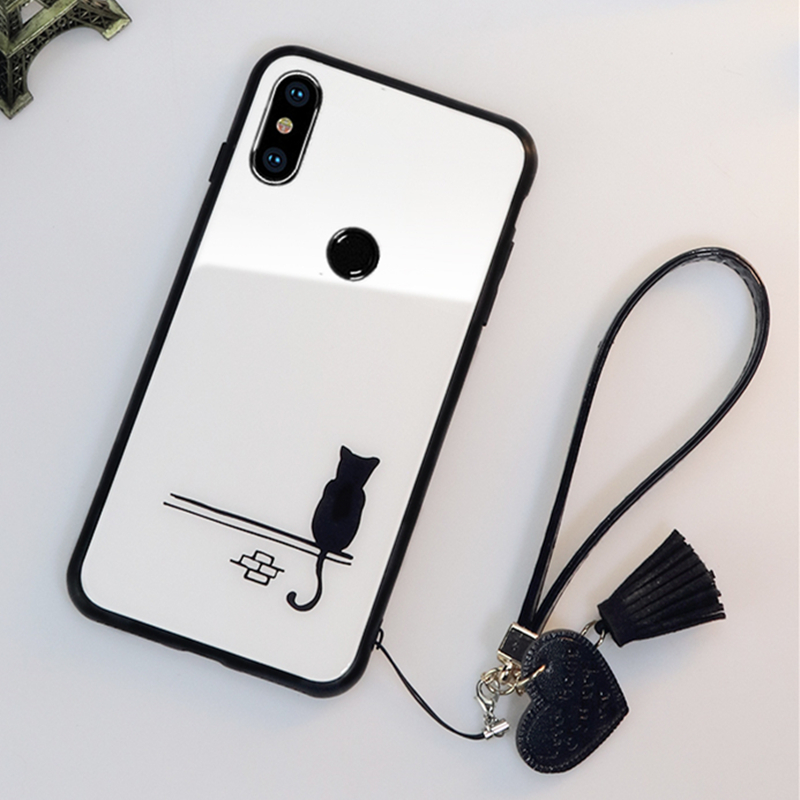 BONVAN For Samsung Galaxy M30 M20 M10 Tempered Glass Case Cat Cover For Samsung M10 M20 M30 Heart Tassel lanyard phone Funda in Fitted Cases from Cellphones Telecommunications