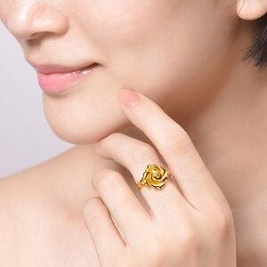 Image 3 - Женское кольцо с розами HMSS, однотонное золотистое кольцо с натуральным цветком AU 999, 2020