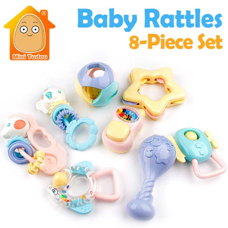 d1c1037db Lovely Mobile Baby Toys 8PCS Maracas Rattles Teether Plastic Hand Jingle  Shaking Bell Shake Ring Toy