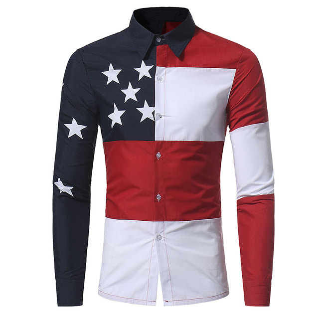 c3cc234738e U.S.A. American Flag Pattern Patchwork Shirts Brand-clothing Mens Dress Shirts  Long sleeve Slim Fit