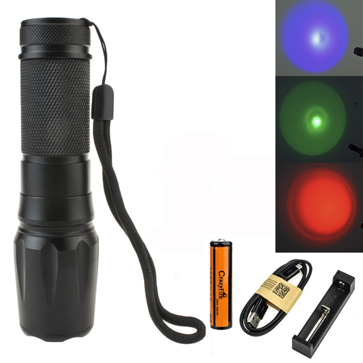 CrazyFire LED Flashlight CREE XPE Red Blue Green Emitting Light Zoomable 5 mode LTorch With 18650