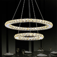 Modern 2Rings Crystal Led Ceiling Lights Fixtures Stainless steel Lamparas Ceiling Hanging Lamp Lighting Living Room Luminaire