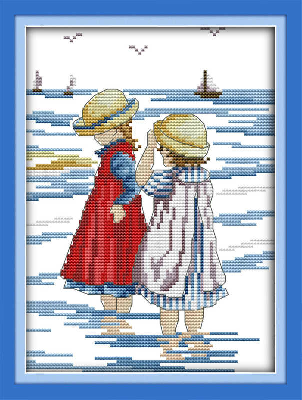 Sisters on beach cross stitch kit cartoon all our yesterday Aida count 18ct 14ct 11ct print embroidery DIY handmade needlework