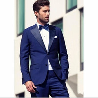 Royal blue Mens Dinner Party Prom Suits Groom Tuxedos tuxedo jacket men Groomsmen Wedding Blazer men suit (Jacket+Pants)