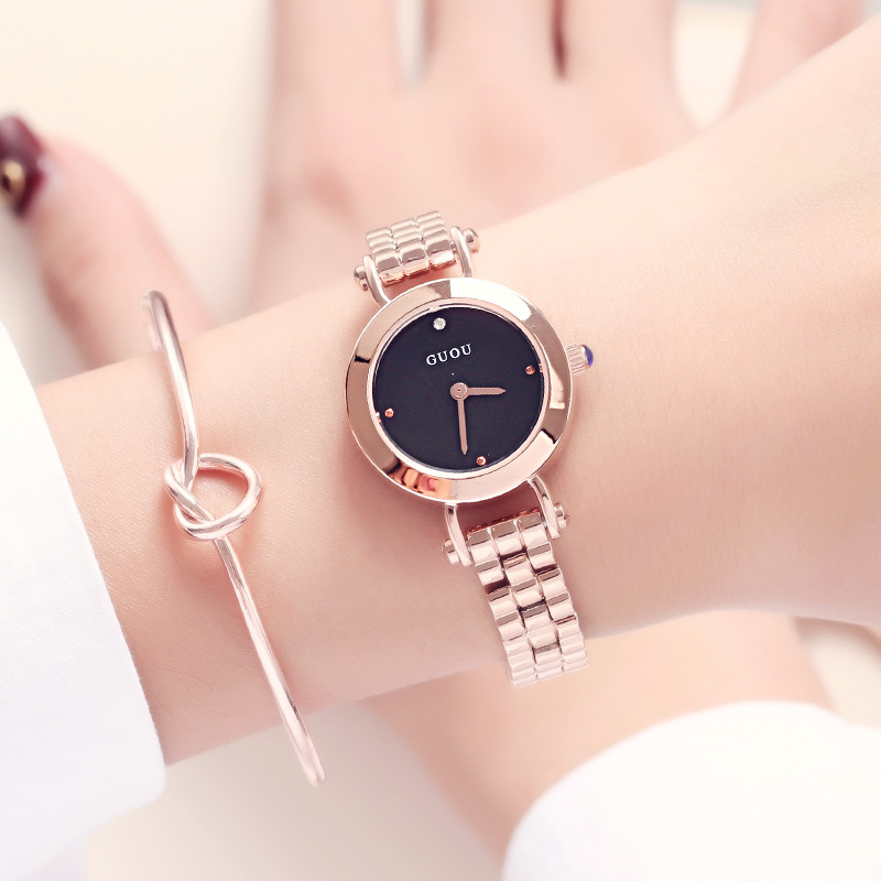 GUOU Brand New Luxury Fashion Quartz Ladies Watch Clock Rose Gold Dress Casual girl relogio feminino Women Watches GU-8148 women watches 2017 brand luxury fashion quartz ladies watch plaid clock rose gold dial dress casual wristwatch relogio feminino