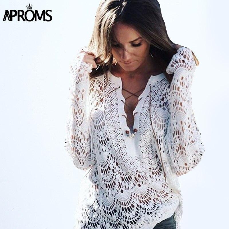 New 2016 Women Blouses Sexy V Neck Lace Crochet Knitted White Beach Kimono Boho Tunic Top