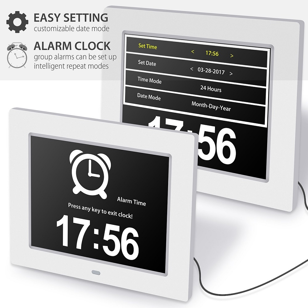 Pinwei Day Clock Digital Calendar With Extra Large Non Abbreviated