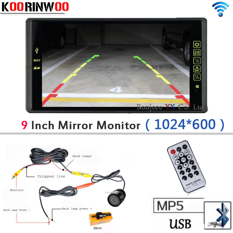 Wireless 9 Car Monitor Auto 1024*600 Bluetooth MP5 FM Media USB/SD SLOT Video Car Parking System Car Rear view camera Reverse newest high resolution 1024 600 full 7 tft lcd car rear view mirror monitor bluetooth mp5 usb tf slot parking assistance