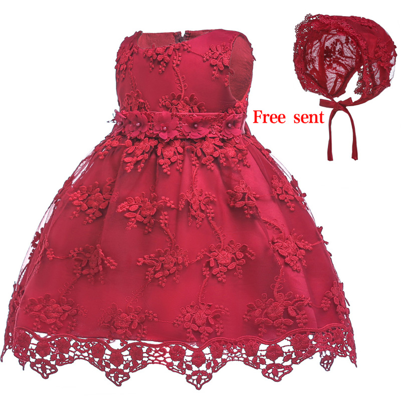 Lovely Flower Girl Baby Birth Day Party First Year Party Embroidery Dress Baby High-end Dinner Performance Dress