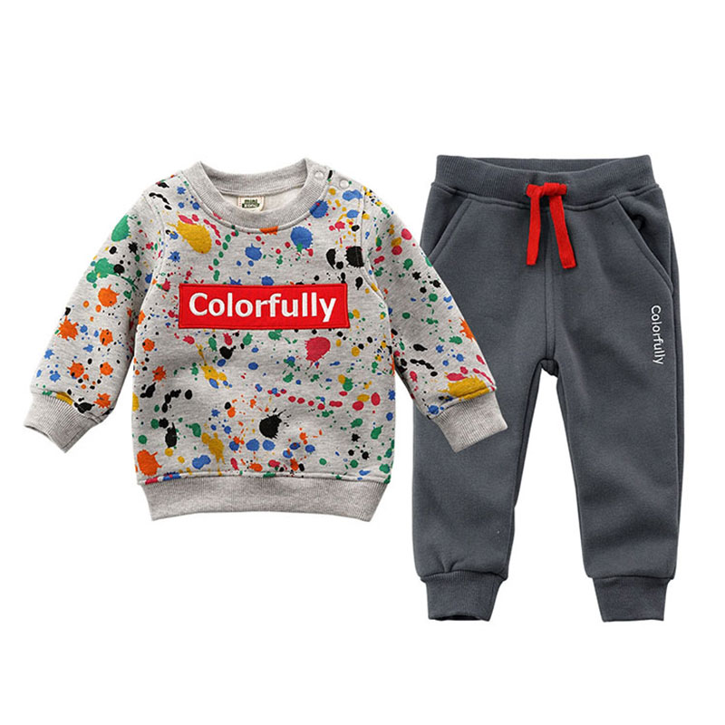 2018 Cotton Fleece Autumn Spring Clothing Set Baby Boy Girl Fashion Outerwear Warm Clothes Suit Children's Clothing Costume 1-6T
