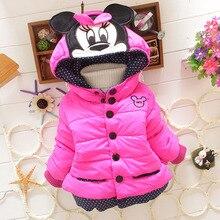 Г. Новая детская зимняя верхняя одежда пальто с рисунком Минни для девочек плотная Шерстяная хлопковая куртка для малышей 3 цвета на возраст от 0 до 2 лет